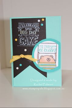And Ice Cream; features Stampin Up's Cheerful Critters and Big Day stamp sets. Male Birthday, Stampin Up Catalog, Stamp Sets, Kids Cards, Happy Day, Stampin Up Cards, Big Day, Handmade Cards, Card Ideas