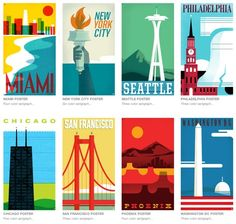 """Philadelphia-based design studio The Heads of State created a lovely poster series called """"From Sea To Shining Sea."""""""