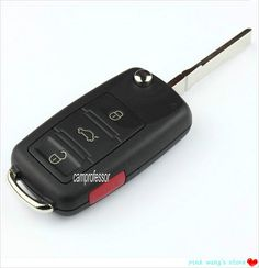 2pcs Folding Flip Remote Control key 3 Button+1 Panic 315Mhz ID46 Chip With Logo for VW Volkswagen Touareg Uncut Blank Blade