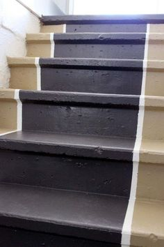 Diy painted stair runner with trim : Painting entryway stairs to the basement on a budget with a tip for getting the project done the fastest, easiest way.