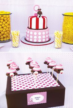"""Hostess with the Mostess®Traciesent over pictures from her daughter'sGirly Sock Monkey Birthday Party! I love the bright pink and pops of yellow, creative monkey """"cup""""cake & especially those adorable monkey cake pops! For more sock monkey party ideas go here and here! PARTY HIGHLIGHTS to look out"""