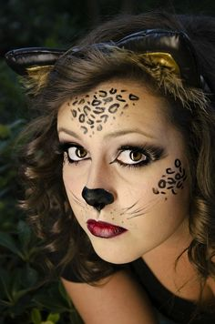 Wild Cat Halloween Makeup - Wild Cat Face Makeup The best image about di furniture for your taste You are looking for someth - Cheetah Makeup, Animal Makeup, Cat Halloween Makeup, Halloween Looks, Leopard Halloween, Halloween 2015, Happy Halloween, Cat Face Makeup, Lion Makeup