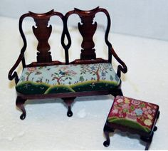 A David Booth settee with 18th c. American style needlework by Annelle Ferguson, via Guild of Miniature Needle Arts.