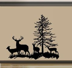 Deer Family, Buck, Doe, and two Fawns ~ Wall Decal Wood Burning Stencils, Wood Burning Crafts, Wood Burning Patterns, Wood Burning Art, Hirsch Silhouette, Silhouette Clip Art, Silhouette Design, Buck Silhouette, Stencil Art