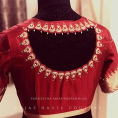 A beautiful scalloped blouse with Chandbali zardosi and pearl work . We soo love the outcome of the beauty ! Beautiful red color designer blouse with chaandbali design hand embroidery thread and bead work. Best Blouse Designs, Blouse Neck Designs, Indian Blouse Designs, Traditional Blouse Designs, Pattu Saree Blouse Designs, Saree Blouse Patterns, Designer Blouse Patterns, Designer Saree Blouses, Stylish Blouse Design