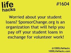 1000 Life Hacks: How about help paying off college loans in exchange for volunt. - 1000 Life Hacks: How about help paying off college loans in exchange for volunteer work - The More You Know, Good To Know, School Life Hacks, 1000 Lifehacks, College Hacks, College Loans, School Loans, College Scholarships, School Scholarship