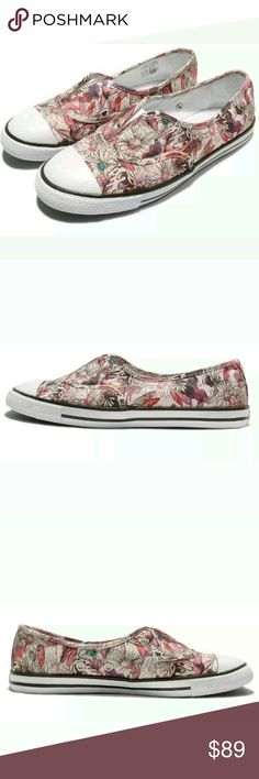 Converse Cove Floral Skull Slip On Shoes Awesome floral skull print slip ons from Converse All Star Chuck Taylor.  Worn briefly one time. Like new. Comes with original box.   Super unique shoe. Size women's 8. Very rare color. Converse Shoes Sneakers