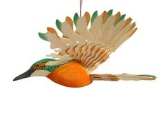 Mid Century Fan Carved Bird Mobile King Fisher Wood by MyFanbirds