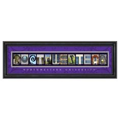 Framed Letter Wall Art - Northwestern University - 24W x 8H in. - CLAL1B22NWUN