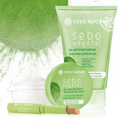 Limpia, Matifica y Corrige. Tres productos; tres beneficios que te dá Sebo Végétal Yves Rocher, Cleanse, Beauty, Flawless Skin, Cleanses, Health And Beauty, Fat, Products, Beauty Illustration