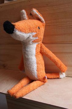 Fox plush organic soft toy friendly fox friend by hebbedinge