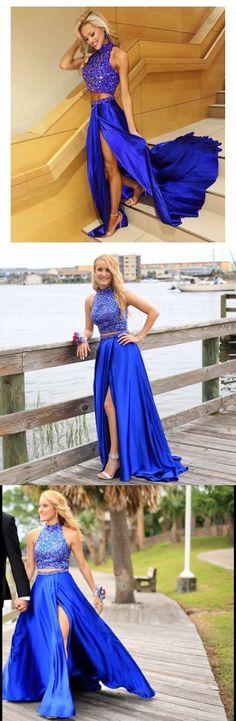 two piece long prom dress, 2017 royal blue long prom dress, slit prom dress, formal evening dress, high neck prom dress
