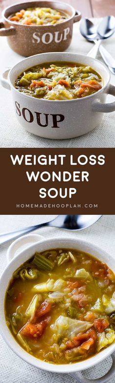 Weight Loss Wonder Soup! A filling and healthy wonder soup to assist with any diet. Vegetarian, gluten free, vegan, paleo - this combination of cooked veggies will leave you feeling full enough to get past the hunger pangs. | HomemadeHooplah.com