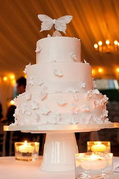 wedding cake ideas and trends cakes confections Butterfly Wedding Cake, Butterfly Wedding Theme, Butterfly Cakes, Butterfly Party, Butterflies, Quinceanera Centerpieces, Quinceanera Decorations, Cakes For Quinceanera, Quinceanera Ideas