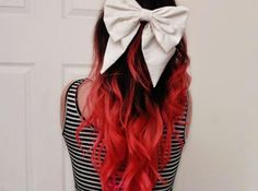 bow & red dip~dyed ends.  x