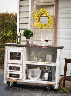 This End Up Desk Turned Kitchen Island - I rather like the look of it outdoors. It would make a great patio server or potting bench! shb