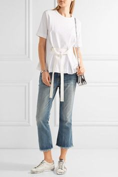 Current/Elliott - The Cropped Flip Flop Frayed Low-rise Flared Jeans - Mid denim - 24