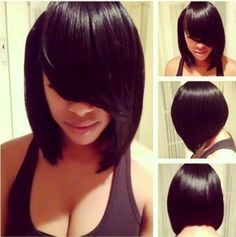 Long Asymmetrical Bob | Sleek asymmetrical bob with long side-swept bang. #bangs #hair ...