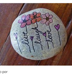Live Lsugh Lpve flowers painted rock