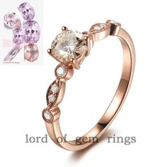 $399 14K Gold Moissanite 5mm Round Accent Diamonds Engagement Ring  #LOGR