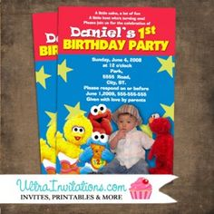 Check out the sesame street babies with elmo, big bird, and cookie monster and your child's photo for the birthday party celebration. Elmo Birthday Invitations, Birthday Party Celebration, Baby First Birthday, Big Bird, Your Child, First Birthdays, Birthday Ideas, Babies, Street