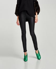 Image 1 of MID RISE FAUX LEATHER TROUSERS from Zara