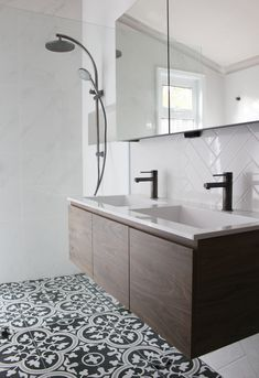 Encaustic Floor Tile - Herringbone Tiling - White Wall and Patterned Floor - On the Ball Bathrooms - Bathroom Renovations Perth - Gun Metal Grey Tapware Grey Bathrooms, Bathroom Renos, Bathroom Flooring, Small Bathroom, Bathroom Tapware, Bathroom Ideas, Herringbone Tile Pattern, Herringbone Wall, Bathroom Renovations Perth