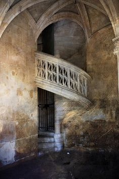 A balcony overlooking the courtyard of the Museum of the Army at the Invalides in Paris France.