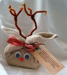 Cute idea for work gifts: Reindeer Washcloth Filled with Bath Goodies | 50 Tiny And Adorable DIY Stocking Stuffers