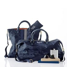 Camouflage Foldover Tote | Mark and Graham in Navy (shown), white or green