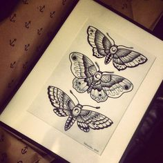 Dotwork Moths by ZielonaPepitka.deviantart.com on @DeviantArt
