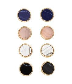 Round metal earrings painted in various colors.