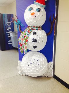 A door decorating competition at my high school, this was the door of the Special Education class. Made of foam cups and paper