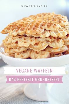 Vegan Waffles My milk-free waffle recipe FeierSun.de - Vegan Waffles My perfect milk-free waffle recipe as a basic waffle recipe. This sophisticated recip - Milk Free Waffle Recipe, Waffle Recipes, Baking Recipes, Vegan Recipes, Dessert Recipes, Cream Recipes, Dairy Free Waffles, Waffel Vegan, Vegan Sweets