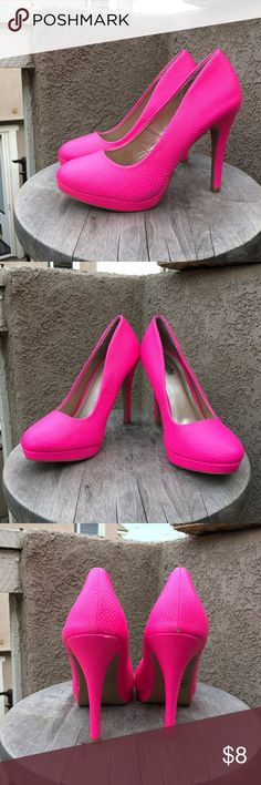Charlotte Russe Hot Pink Pump heels size 7 Charlotte Russe Hot pink pumps. Size 7. Light scuffs but in great condition. Charlotte Russe Shoes Heels