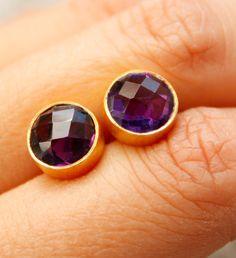 Gold Purple Amethyst Quartz Stud Earrings - Round Studs, Post Setting - Purple Wedding. $45.00, via Etsy.