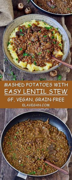 lentil stew with mashed potatoes. This recipe is a great comfort food which Easy lentil stew with mashed potatoes. This recipe is a great comfort food which. -Easy lentil stew with mashed potatoes. This recipe is a great comfort food which. Whole Food Recipes, Cooking Recipes, Healthy Recipes, Easy Lentil Recipes, Easy Plant Based Recipes, Plant Based Meals, Vegetarian Potato Recipes, Vegan Crockpot Recipes, Cheap Recipes