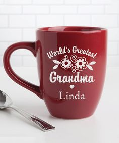 Red Floral 'World's Greatest Grandma' Personalized Bistro Mug