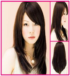 Long Layered Hair with Side Swept Bangs in Dark Brown Hair Color