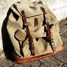 this classic will find a new home today. a piece from 1957 - crafted by sellier m. chiquet. great craftsmanship and still in perfect shape. #swissarmybackpack #swiss #army #backpack #handcrafted #handmade #swissmade #saltandpepper #vintage #heritage