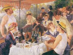 One of my favorite Renoir paintings.  Luncheon at the Boating Party depicts a group of Renoir's friends relaxing on a balcony of the Maison Fournaise along the Seine River, 1881