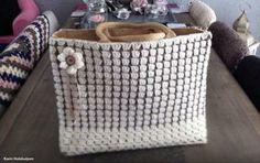 gemaakt door Karin Holshuijsen Free Crochet, Knit Crochet, Chrochet, Merino Wool Blanket, Jute, Straw Bag, Free Pattern, Knitting, Bags