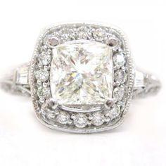 Princess cut diamond engagement ring antique 2.00ctw via nrinc