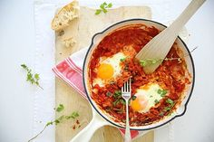 Easy shakshuka (eggs poached in tomato sauce) - many variations abound, from smittenkitchen to NY Times Melissa Clark. Looks like a great brunch or easy supper dish, served with pitas to dip! Grilling Recipes, Veggie Recipes, Fall Recipes, Cooking Recipes, Healthy Recipes, Picnic Recipes, Healthy Food, Brunch Dishes, Brunch Menu