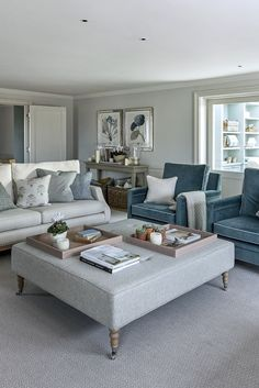 Off white upholstery with blue velvet accent chairs… Modern classic living room. Off white upholstery with blue velvet accent chairs. Sims Hilditch, The Garden House Sitting Room White Living Room Chairs, Grey Carpet Living Room, Formal Living Rooms, Living Room Modern, My Living Room, Living Room Interior, Living Room Designs, Blue Chairs, Velvet Chairs