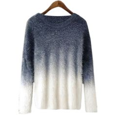 Yoins Grey Gradient Color Chic Long Sleeves Pullover Sweater (595 CZK) ❤ liked on Polyvore featuring tops, sweaters, black, crew top, pullover tops, crew neck tops, crew sweater and crew neck sweaters