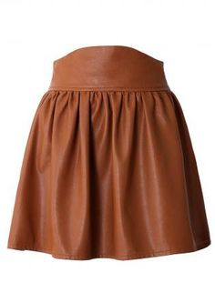 Brown Faux Leather High Waisted Skater Skirt