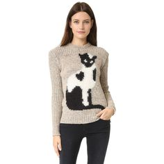 No. 21 Cat Sweater ($465) ❤ liked on Polyvore featuring tops, sweaters, graphic crewneck sweaters, cat print sweater, crew sweater, cat top and cat sweater