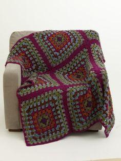 Free Crochet Pattern 70491AD Crochet Granny Block Afghan : Lion Brand Yarn Company