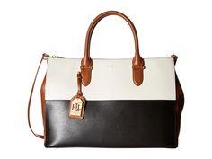 LAUREN by Ralph Lauren - Newbury Tricolor Double Zip Satchel (Black/Lauren Tan/Vanilla) Satchel Handbags
